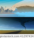 Tsunami and Twisting tornado or storm from. Big waves and ocean surface. Landscape Flood and 41297434