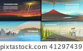 Set of natural disaster or cataclysms. Catastrophe and crisis Background. Realistic Tornado or storm 41297439