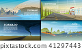Set of natural disaster or cataclysms. Catastrophe and crisis Background. Realistic Tornado or storm 41297443