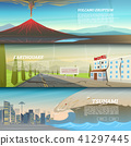 Set of natural disaster or cataclysms. Catastrophe and crisis Background. Realistic Tornado or storm 41297445