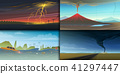 Set of natural disaster or cataclysms. Catastrophe and crisis Background. Realistic Tornado or storm 41297447