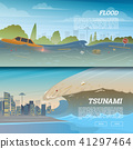 Tsunami on tropical beach. Big waves and ocean surface. Landscape Flood and Disaster. City on 41297464