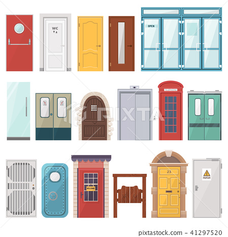 Doors vector doorway front entrance to house and set of building in flat style doorstep illustration 41297520