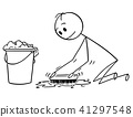 Cartoon of Man Cleaning or Brushing Floor With Scrubbing Brush 41297548