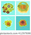 Cartoon tropical exotic island in ocean top view exotic lagoon map caribbean aerial sprite seascape 41297696