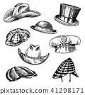 Summer Hats vintage collection for elegant men. Fedora Derby Deerstalker Homburg Bowler Straw Beret 41298171