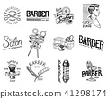 Set of barbershop badge and label, logo and hipster emblems. Tools for man icon. Haircut of beard 41298174