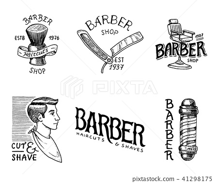 Set of barbershop badge and label, logo and hipster emblems. Tools for man icon. Haircut of beard 41298175