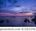 ชายฝั่งที่สวยงามใกล้กับปราสาท Ryugu และแสงยามเช้า Kinosaki Onsen Hiwayama ชายฝั่ง Shimagashima 41303395