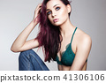 Young woman with color hair 41306106