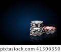Casino chips stacks. 3d Illustration on black and blue background 41306350