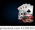 Casino chips stacks with roulette, play cards and dice. 3d Illustration on black and blue background 41306363