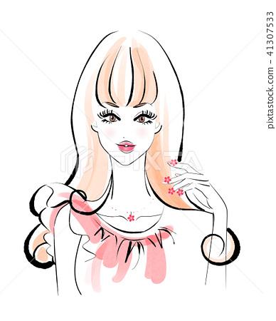 花指甲長髮粉紅色連衣裙 41307533