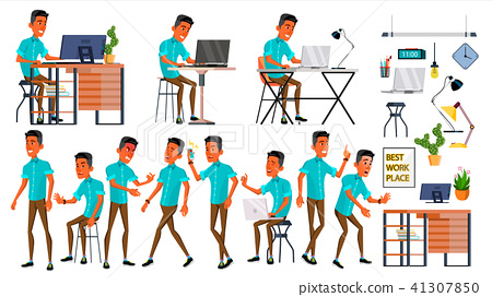 Office Worker Vector. Face Emotions, Various Gestures. Adult Business Male. Successful Corporate 41307850