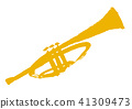 트럼펫, 수채화, 악기 41309473