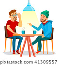 Two Man Friends Drinking Coffee Vector. Best Friends In Cafe. Sitting Together In Restaurant. Have 41309557