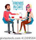 Couple In Restaurant Vector. Friends Or Boyfriend, Girlfriend. Man And Woman. Sitting Together And 41309564