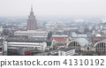 Riga, Latvia. Top View Cityscape In Misty Fog Rainy Day. Latvian Academy Of Sciences, Bus Station 41310192
