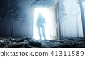 Astronaut in fog night forest. Light portal door. landing place. 4K animation. 3d rendering. 41311589