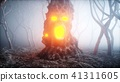 stone screaming head in fog night forest. Fear and horror. Mistyc concept of halloween. 3d rendering 41311605