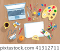 Top view illustration set of artists workplace 41312711