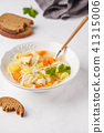 Chicken soup with noodles and vegetables  41315006