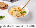 Chicken soup with noodles and vegetables  41315007