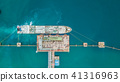 Aerial view oil tanker ship at the port. 41316963