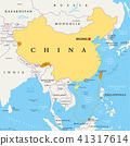 China, controlled and claimed regions, political m 41317614