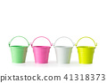 Four colorful buckets on white. 41318373