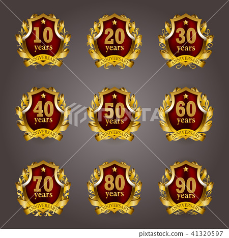 Set of gold anniversary badges 41320597