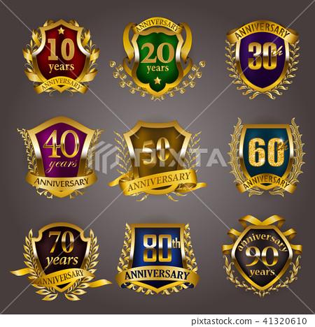 Set of gold anniversary badges 41320610