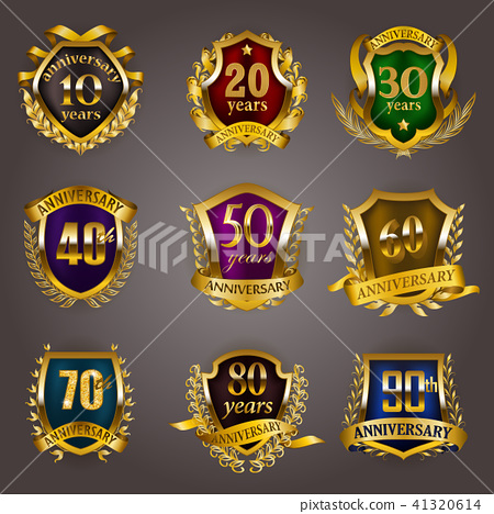 Set of gold anniversary badges 41320614