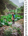 Girl admire the lotus plants on her way in lush green valley of the mountains. Santo Antao. Cape 41322317