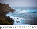Bluff volcanic coastline in Sinagoga with stormy atlantic ocean. Trekking trail from Ponta do Sol to 41322320
