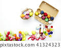 Decorated eggs and spring flowers tulips 41324323