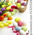 Decorated eggs and spring flowers tulips 41324328