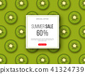 Summer sale banner with sliced kiwi pieces and dotted pattern. Green background - template for 41324739