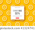 Summer sale banner with sliced orange pieces and dotted pattern. Yellow background - template for 41324741