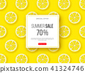 Summer sale banner with sliced lemon pieces and dotted pattern. Yellow background - template for 41324746