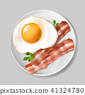 Vector 3d realistic english breakfast - bacon, egg 41324780