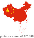 Flag of China in the country outline over white 41325880