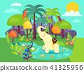 Indian Flora and Fauna Cartoon Vector Illustration 41325956