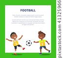 Banner with Indian Boys Playing Football Vector 41325966