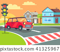 Pedestrian Crossing with Traffic Lights on Road 41325967