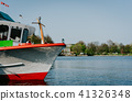 Close up of traditional steamer boat for cruise on the water of Lake Alster, Hamburg, Germany 41326348