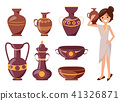 Woman Posing with Clay Vase Vector Illustration 41326871