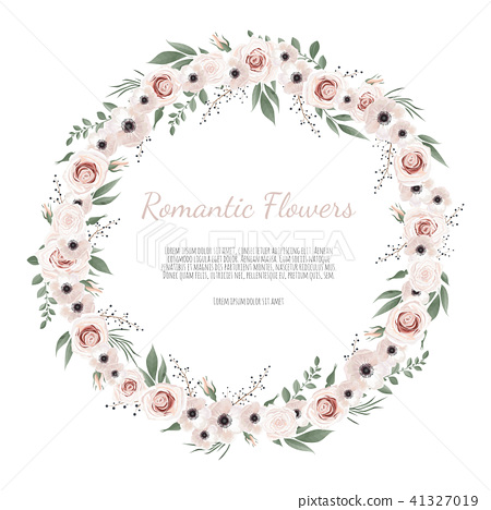 Cute wreath with leaves and flowers 41327019