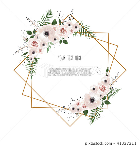 Card with flowers and geometrical frame.  41327211