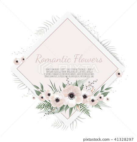 Vector floral design card. Greeting, postcard wedding invite template. Elegant frame with rose and 41328297